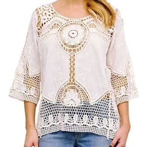 Taylor & Sage Cream Crocheted Top
